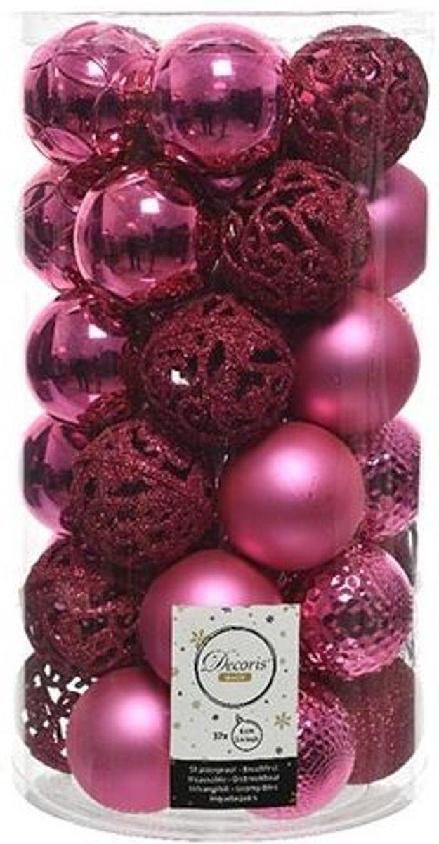 Kerstballen Kunststof Mix Knal Roze 37 stuks kopen
