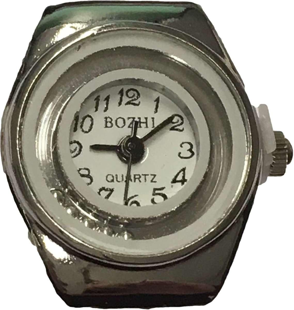 Horlogering met witte rand en zilverkleurige balletjes kopen