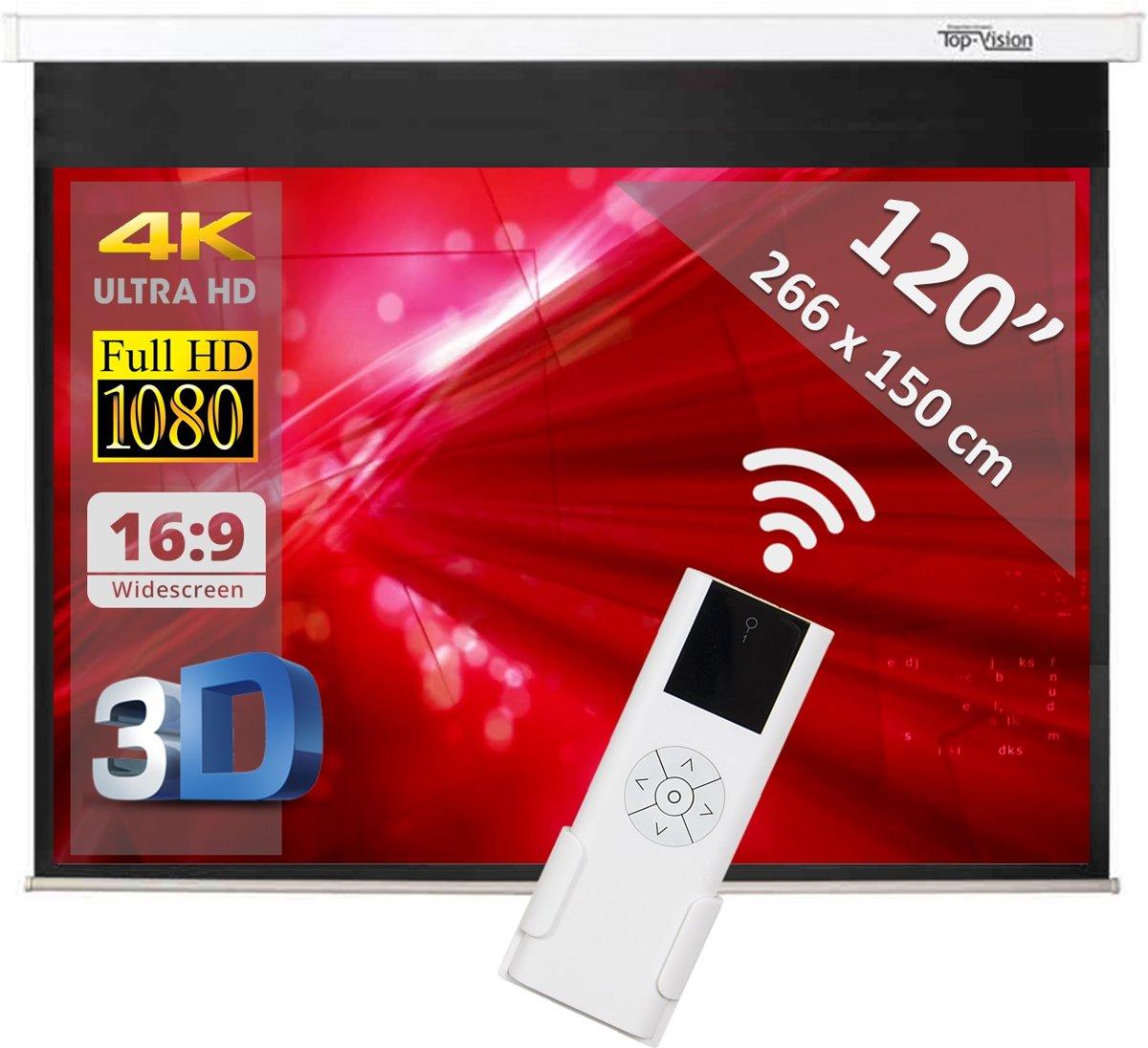 """Elektrisch projectiescherm met afstandsbediening - 120"""" (305 cm) - 266 x 150 cm - 16:9 kopen"""