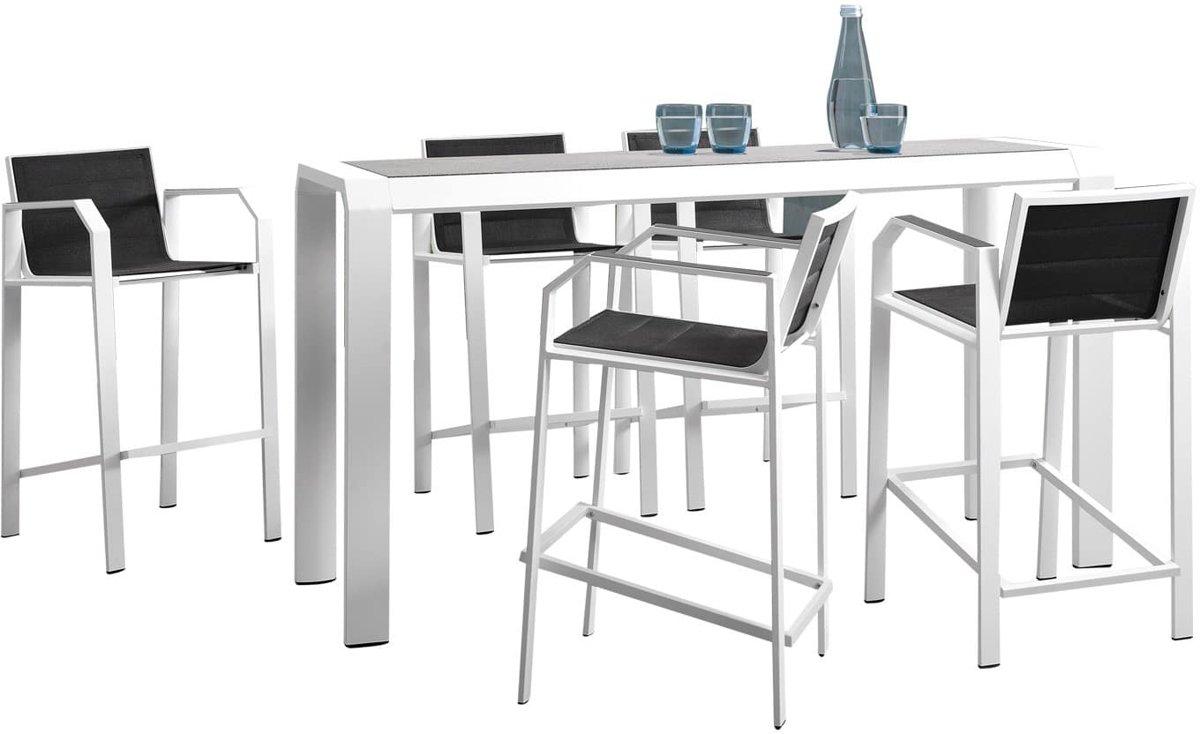 Nomad bar tuinset 5-delig wit aluminium zwart textileen kopen