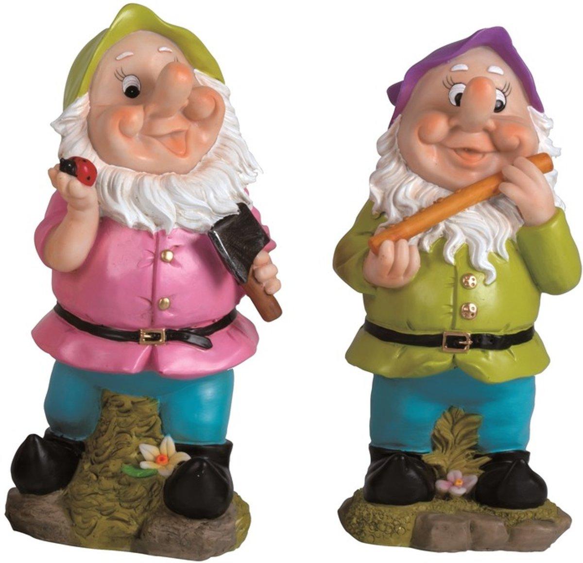 2x Tuinkabouters 30 cm groene/paarse mutsen