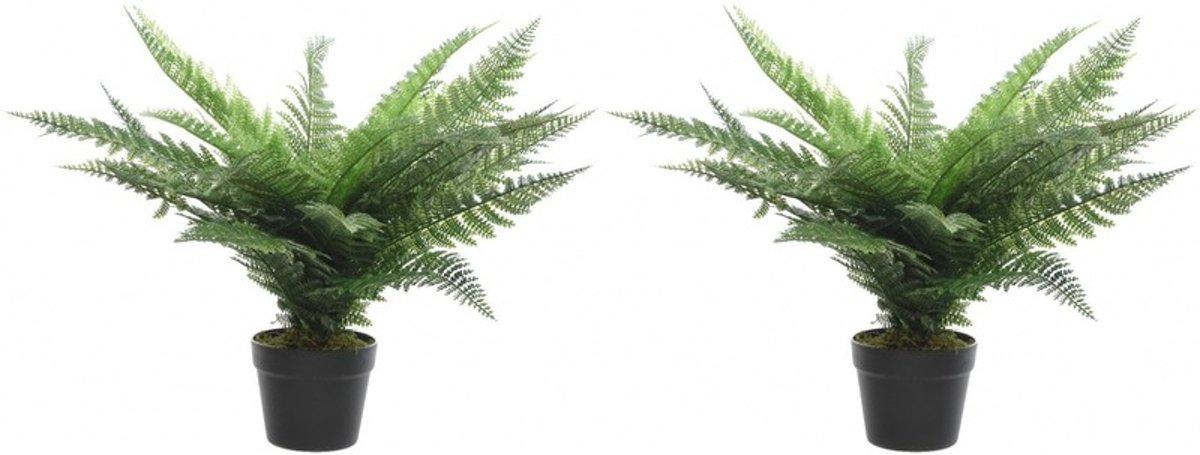 2x Groene adelaarsvaren kunstplanten 60 cm in zwarte pot - Kunstplanten/nepplanten - Varens kopen