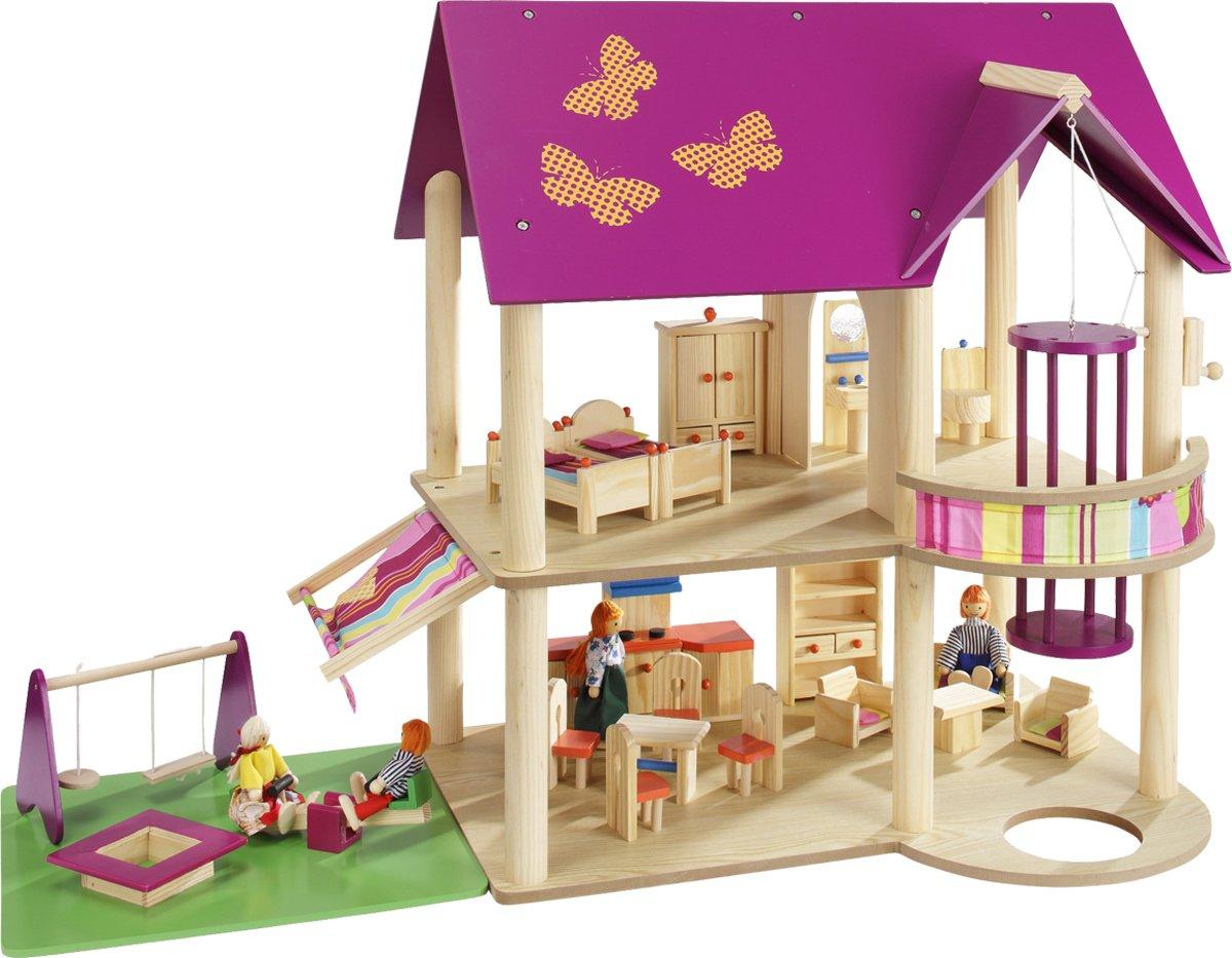 howa Houten Poppenhuis met 22 meubels en 4 poppen 70041