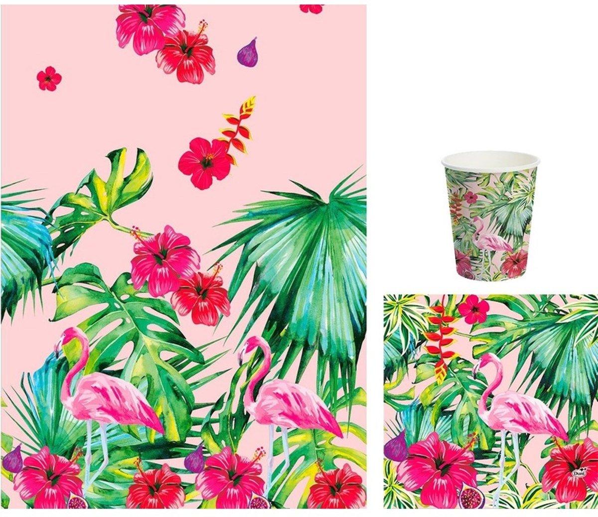 Hawaii thema tafeldecoratie set bekers/servetten/tafelkleed roze/groen - BBQ thema papieren tafeldecoraties