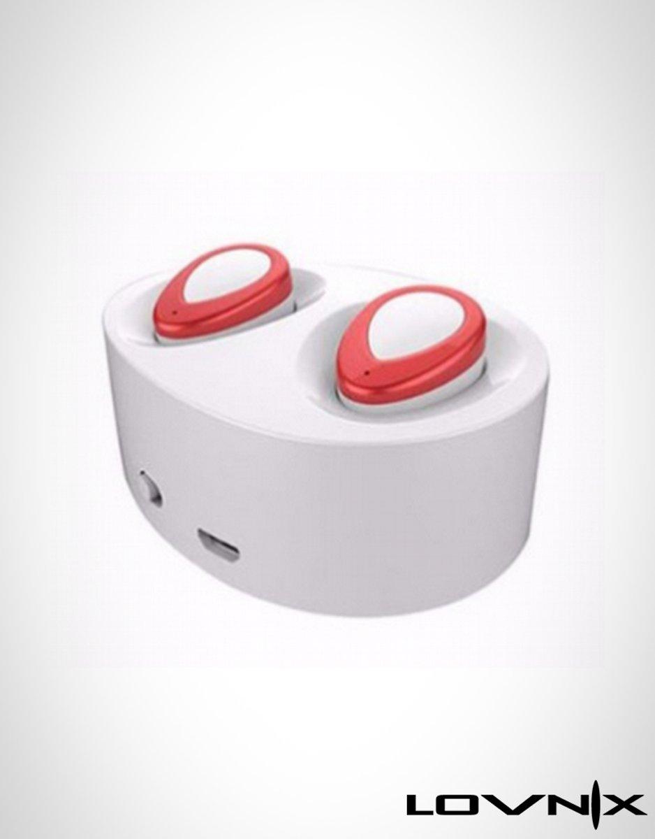 Image of Lovnix K2 - Draadloze oordopjes met ingebouwde powerbank  Bluetooth   Exclusieve model   Alternatief Airpods   Geschikt voor alle bluetooth toestellen   Wit/Rood (7435140568579)