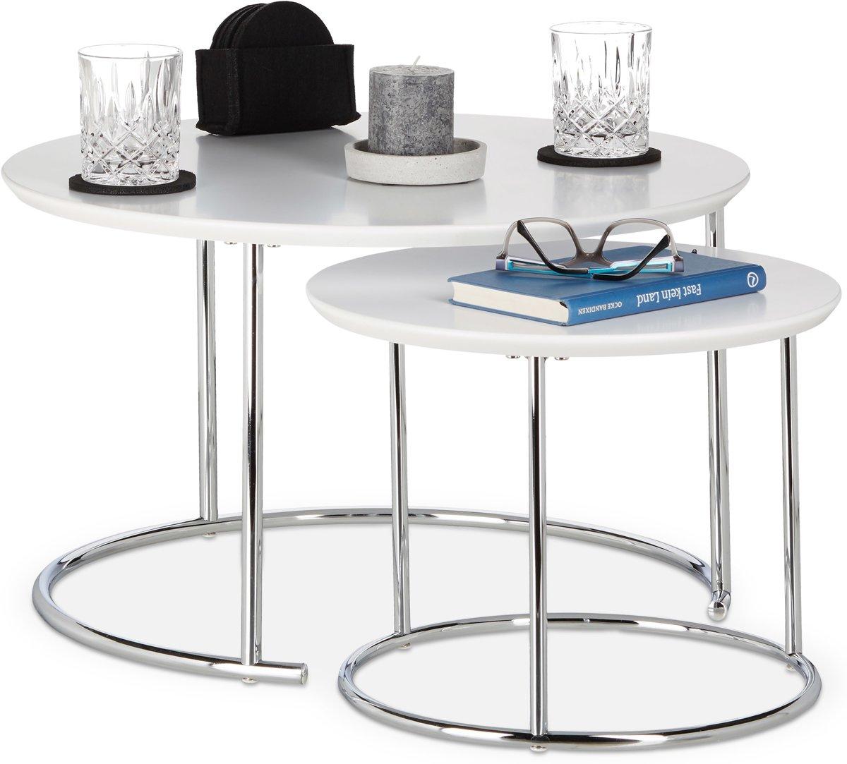 Salontafel Set Rond Wit.Top Honderd Relaxdays Bijzettafel 2er Set Nest Tafels Rond