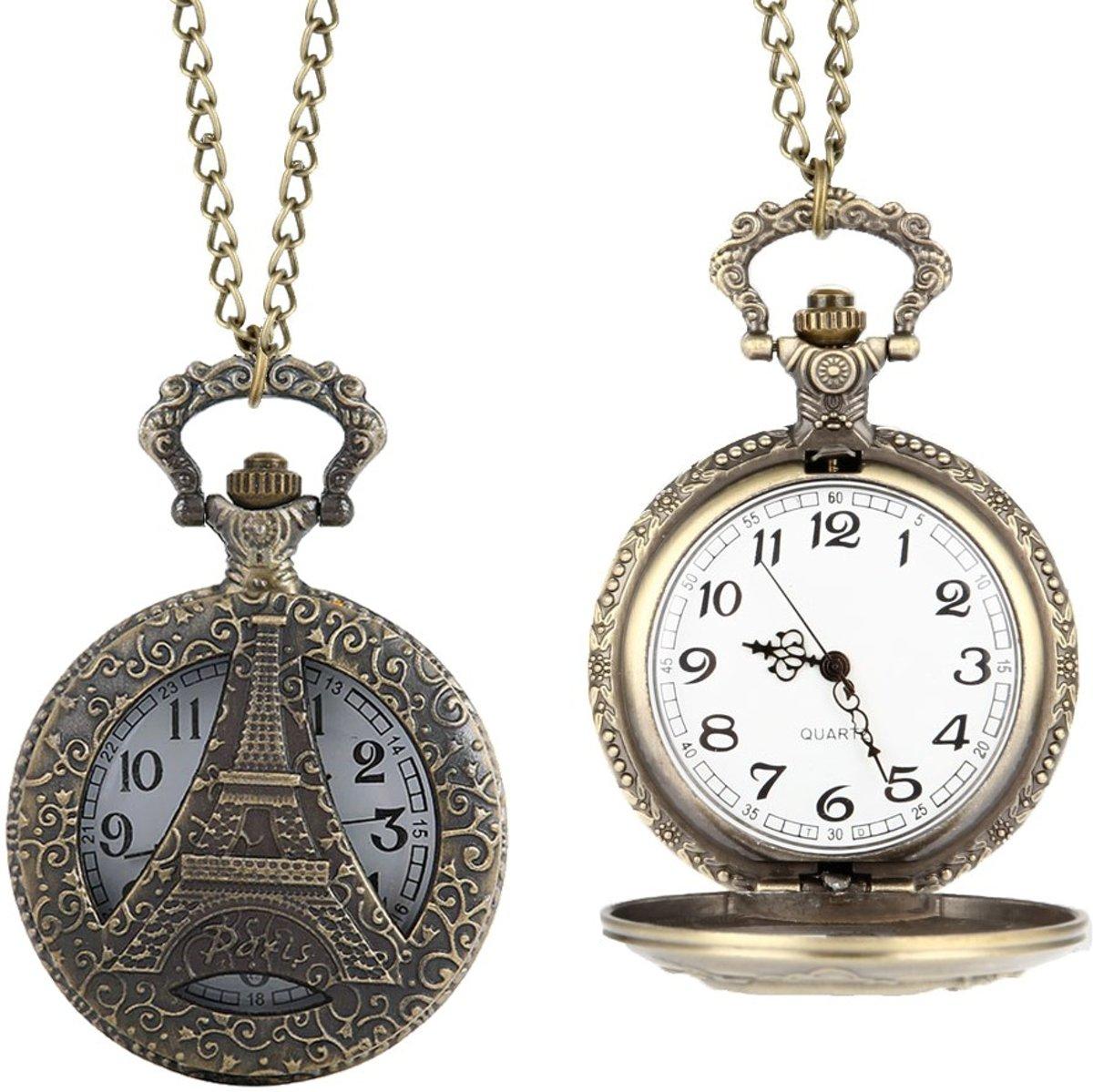 Fako Bijoux® - Kettinghorloge XL - Eiffeltoren - Bronskleurig kopen
