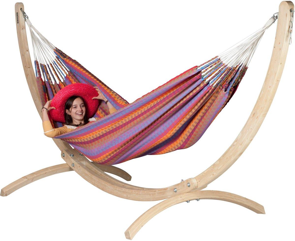 Hangmatset: 2-persoons hangmat CAROLINA Flowers + Standaard CANOA, geschikt voor 2-persoons hangmat