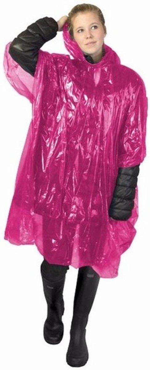 Wegwerp regenponcho roze - wegwerp regen poncho - one size kopen