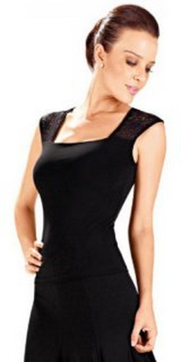 Afbeelding van product Mouwloos shirt met kant zwart So Dança E-10928M maat 5  - maat S
