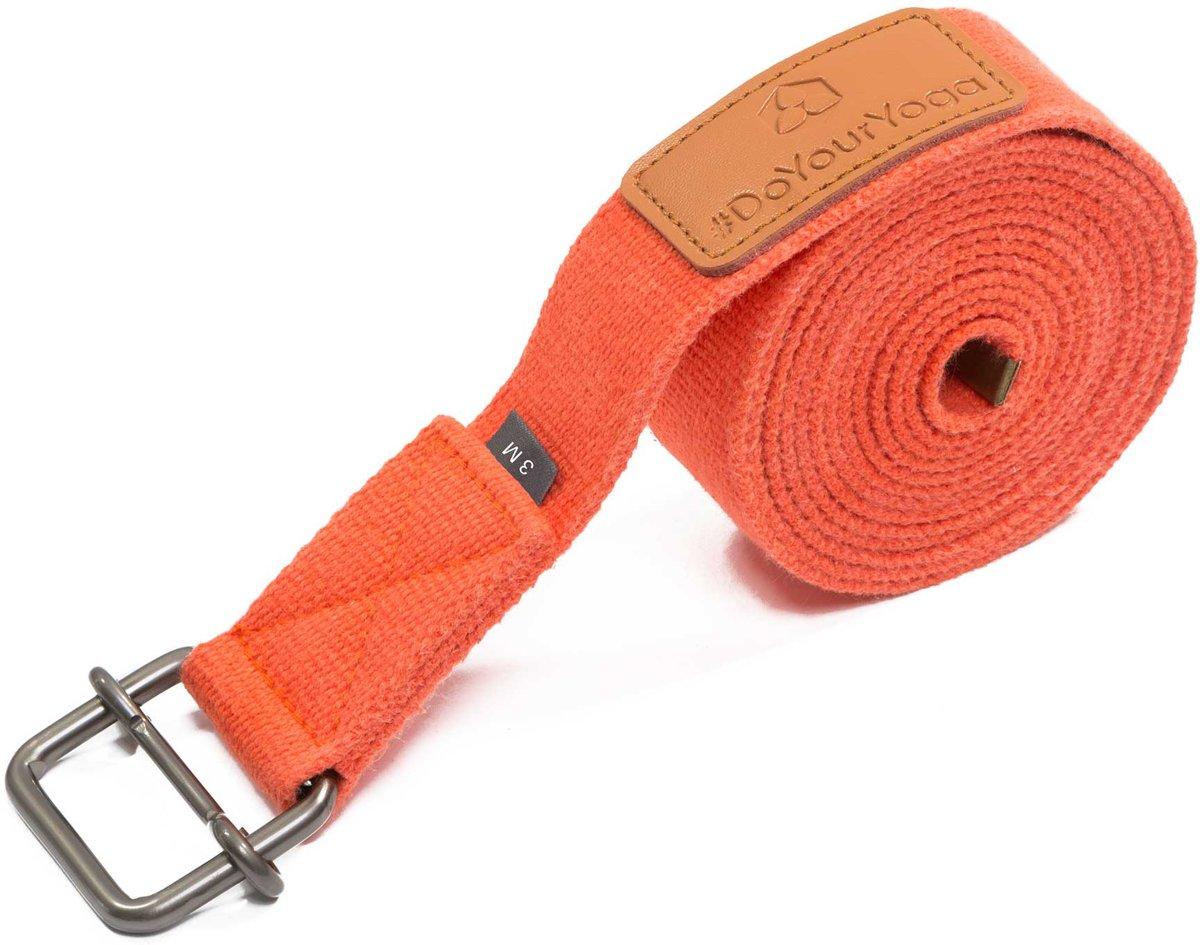 #DoYourYoga - Yogariem - »Yaro« - 100% katoen met plastic sluiting - 250 cm - Oranje kopen