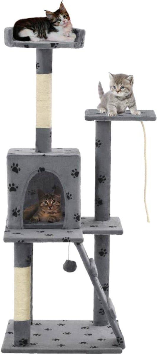 vidaXL Kattenkrabpaal met sisalpalen 120 cm pootafdrukken grijs