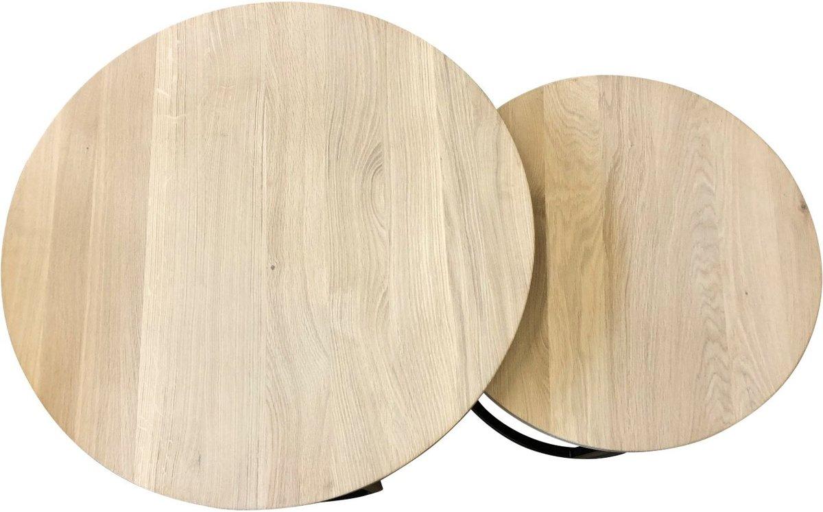 Bol meubelplaats eiken ronde salontafel set van