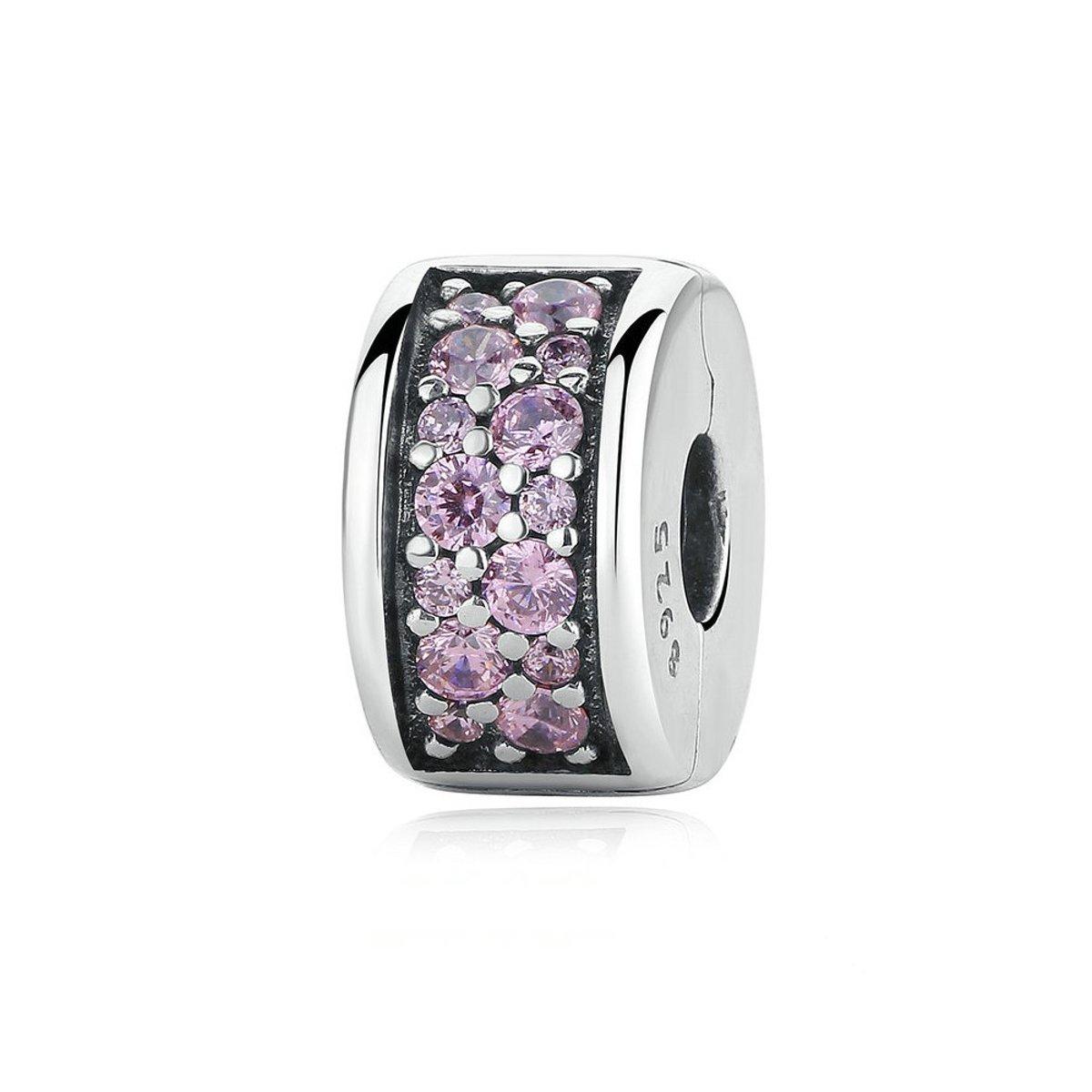 Zilveren clip  met roze zirkonia Glanzende elegantie kopen
