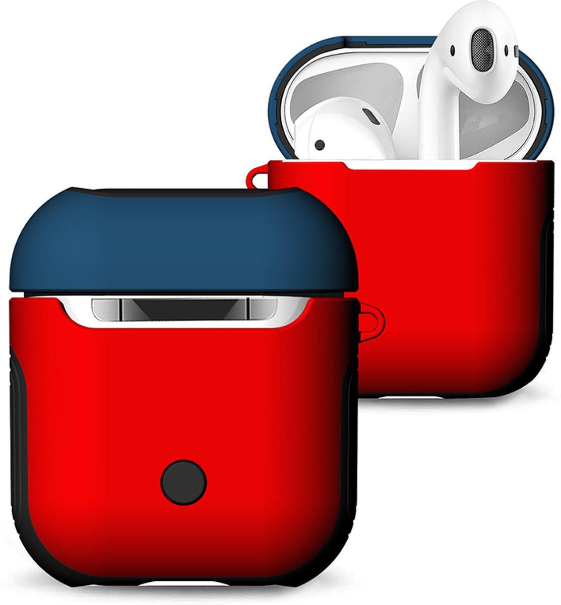 Hybride Silicone Case Cover Hoesje voor Apple Airpods - KELERINO. - Rood / Blauw kopen