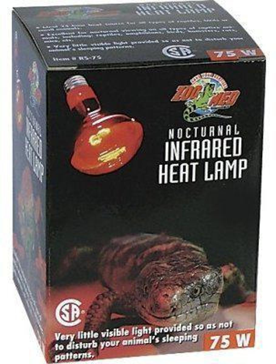 Zoomed terrarium verlichting Nocturnal red infrared heat lamp 75 w.