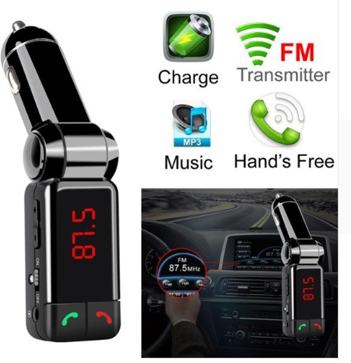 DrPhone BC3 - 5 in 1 Universele Draadloze Bluetooth Handsfree-carkit met FM transmitter/ AUX ingang/ Ondersteunt MICRO USB kaart / SD kaart + USB poort & Dubbele USB 2.1A poorten geschikt om uw smartphone op te laden - Zwart kopen