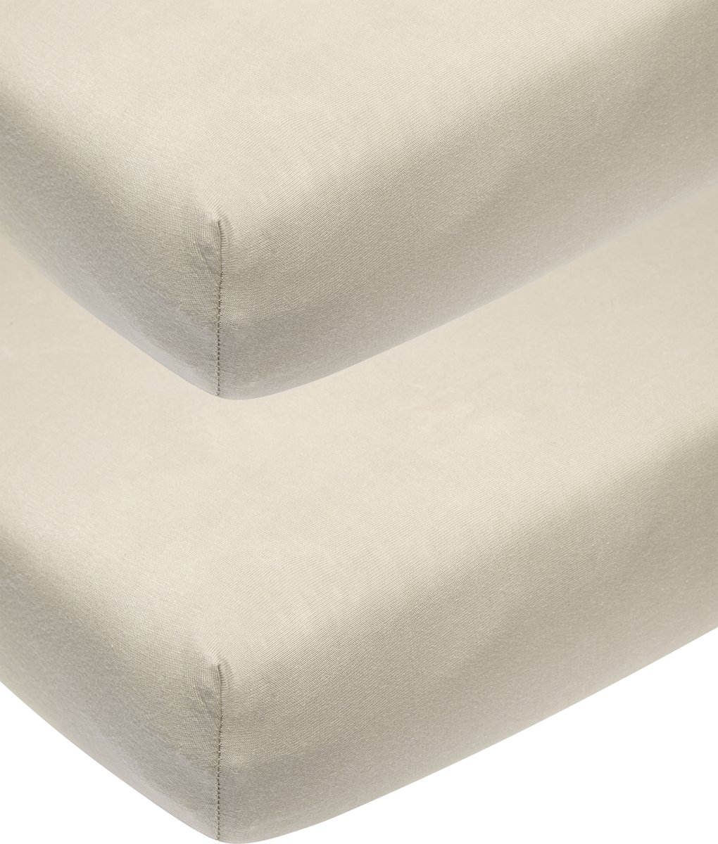 Meyco 2-pack Jersey Hoeslakens Ledikant - 60x120 cm - zand