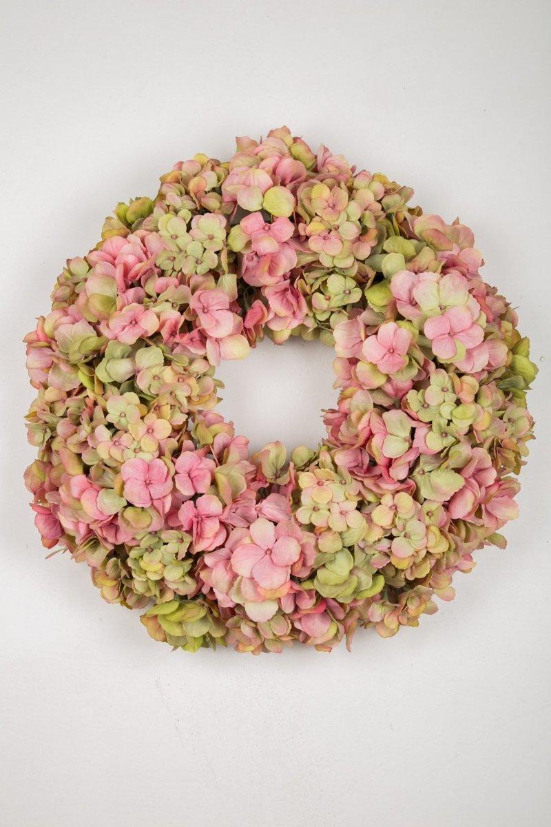 Viv! Home Luxuries - Hortensia krans - zijde - roze groen - 46cm - topkwaliteit kopen
