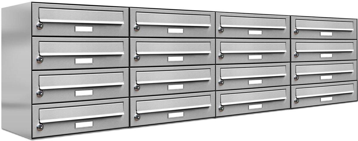 16er brievenbus adressen 16 personen RVS inbouw