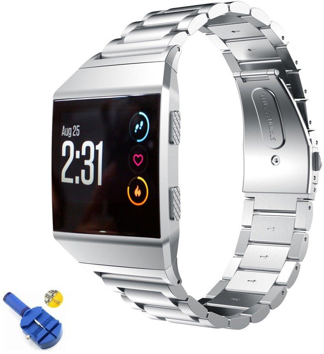 RVS Horloge Band Voor Fitbit Ionic - Watchband - Strap Armband - Metalen Sport Armband - Small/Large Zilver Kleurig kopen