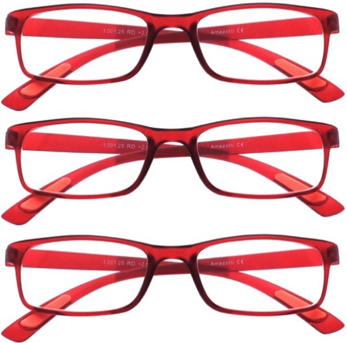 Amazotti Set van 3, Super-lichte Trendy Leesbril – rood - sterkte +1.50 kopen