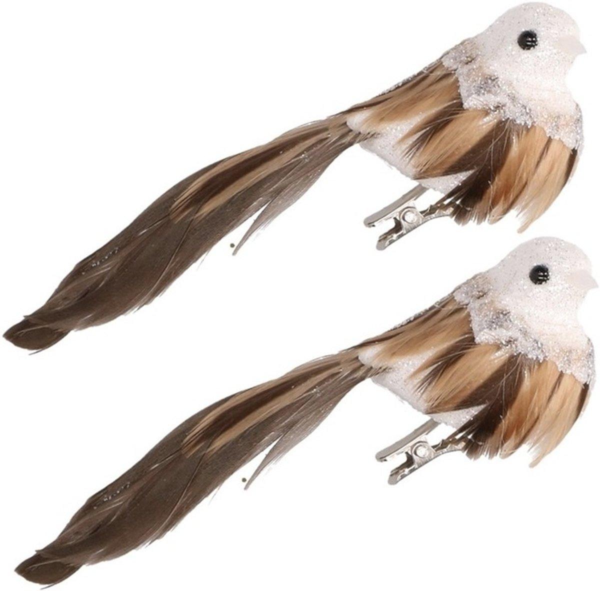 Kerstboom decoratie vogeltje op clip bruin/wit 2 stuks kopen