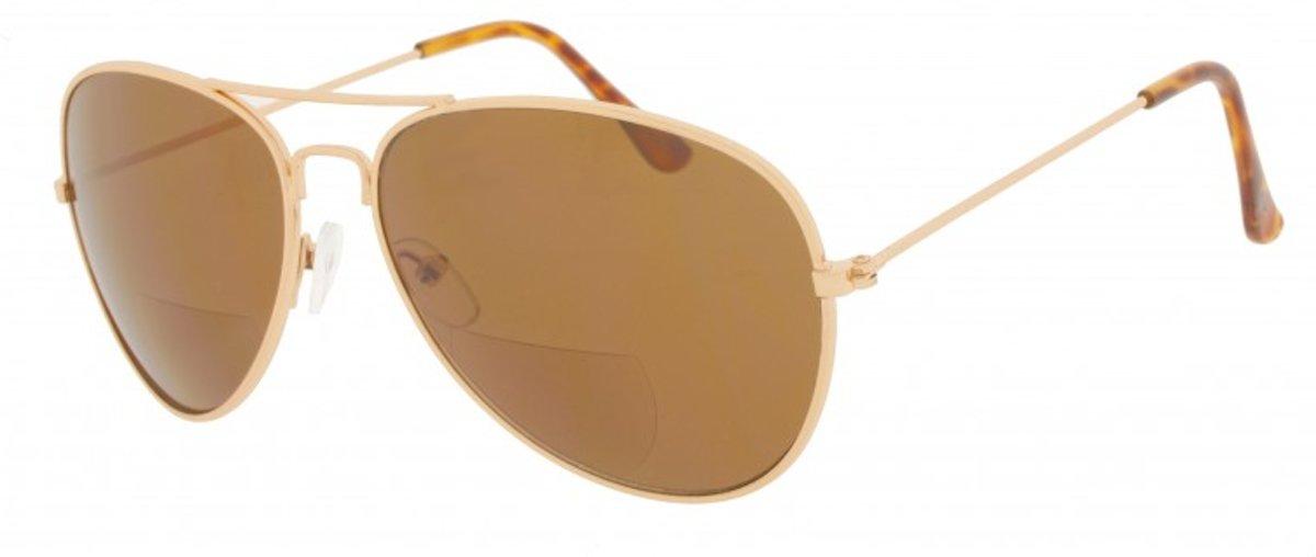 Icon Eyewear IBC317 Aviator Bifocale zonneleesbril +3.00 - Goudkleurig frame, bruine glazen kopen