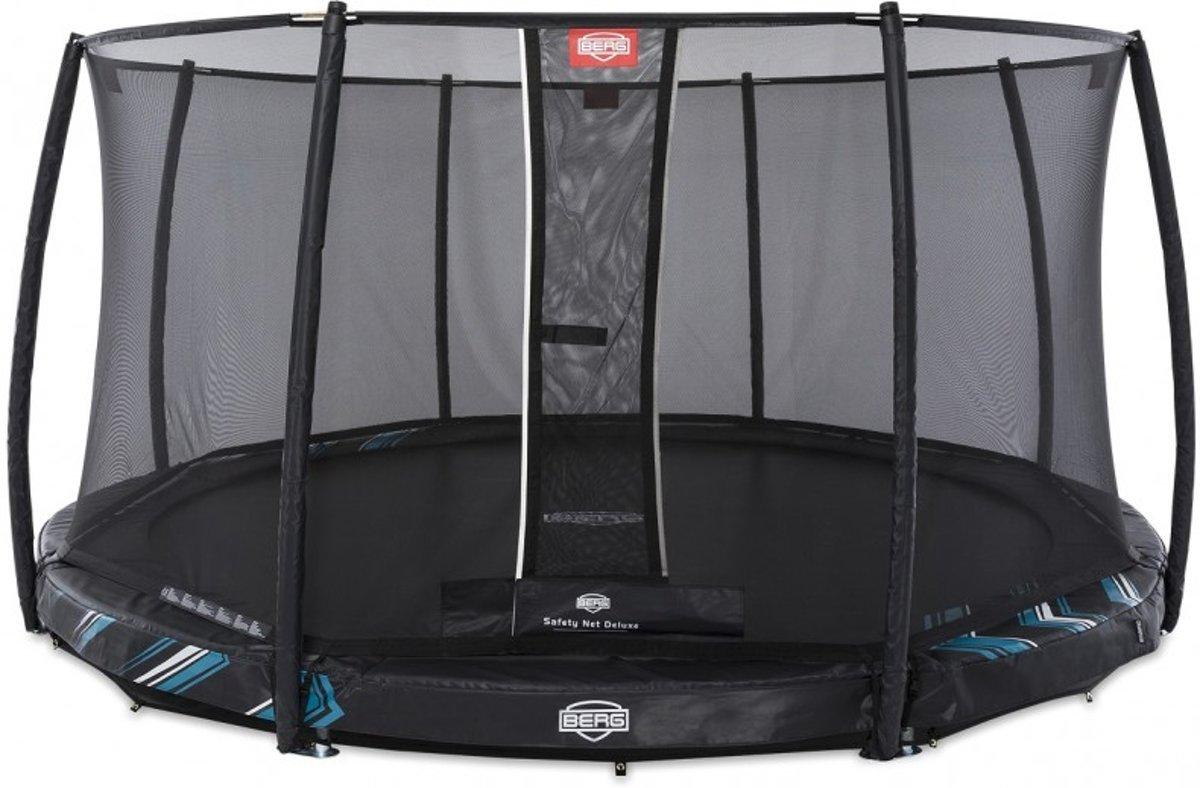 BERG Trampoline Champion Inground 430 Black Limited Edition + Safetynet Deluxe - met Airflow - zwart