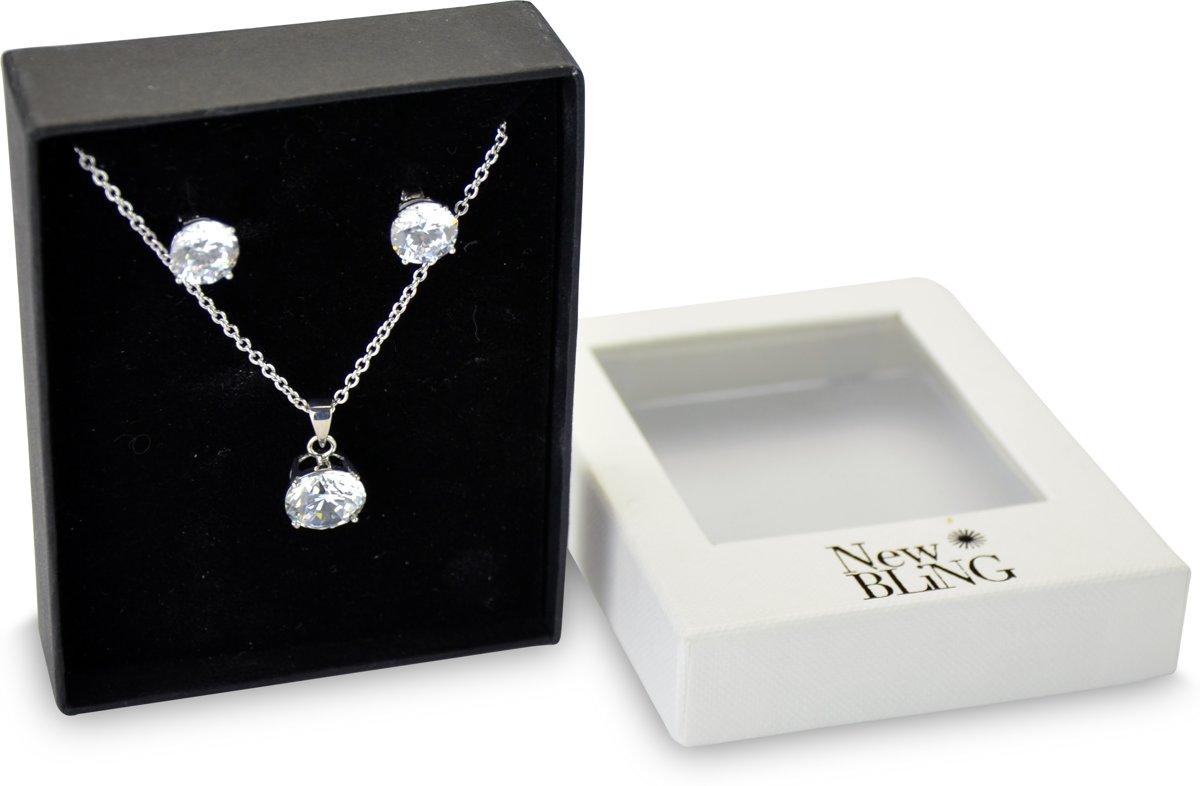 New Bling Gift Set 9NB SET003 Sieraden Geschenkset - Zilveren Oorbellen 8 mm Collier 40+5 cm - Solitair Zirkonia steen - Zilverkleurig kopen
