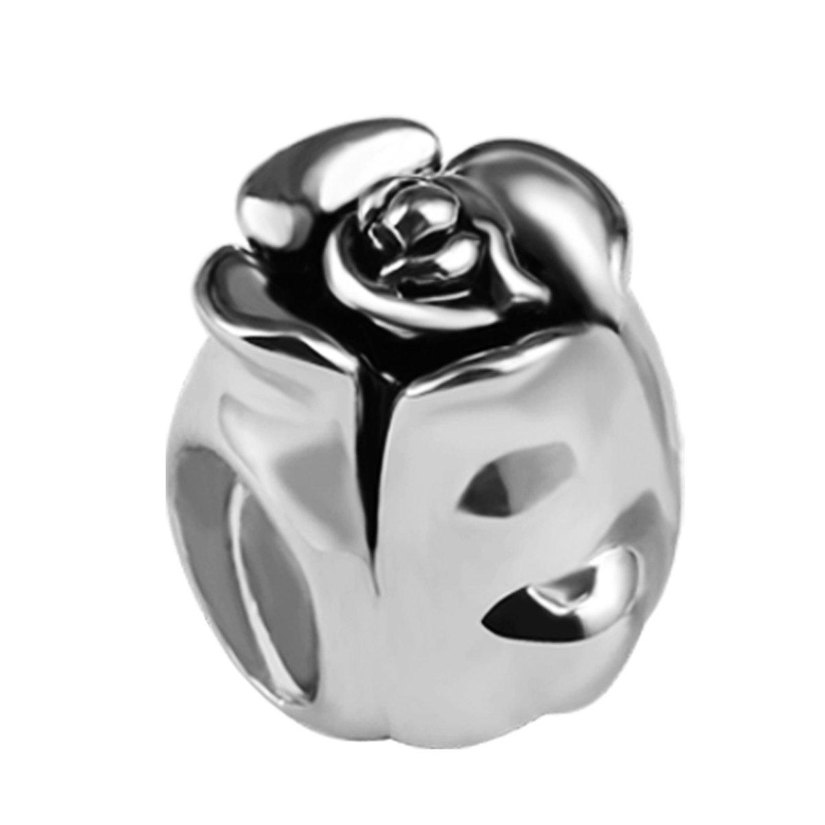 Quiges Bedel Bead - 925 Zilver - Roos Kraal Charm - Z515 kopen