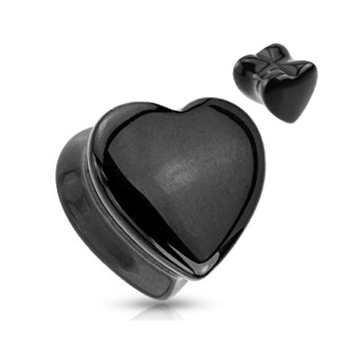 6 mm Double-flared plug zwart hart steen ©LMPiercings kopen