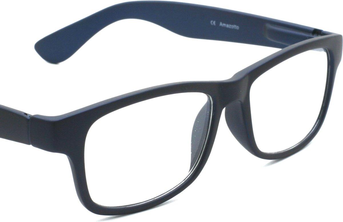 """Torino Leesbril van Amazotti, Wayfarer model met """"Soft Touch"""" mat afwerking, Donker Blauw, Sterkte +1.50 kopen"""