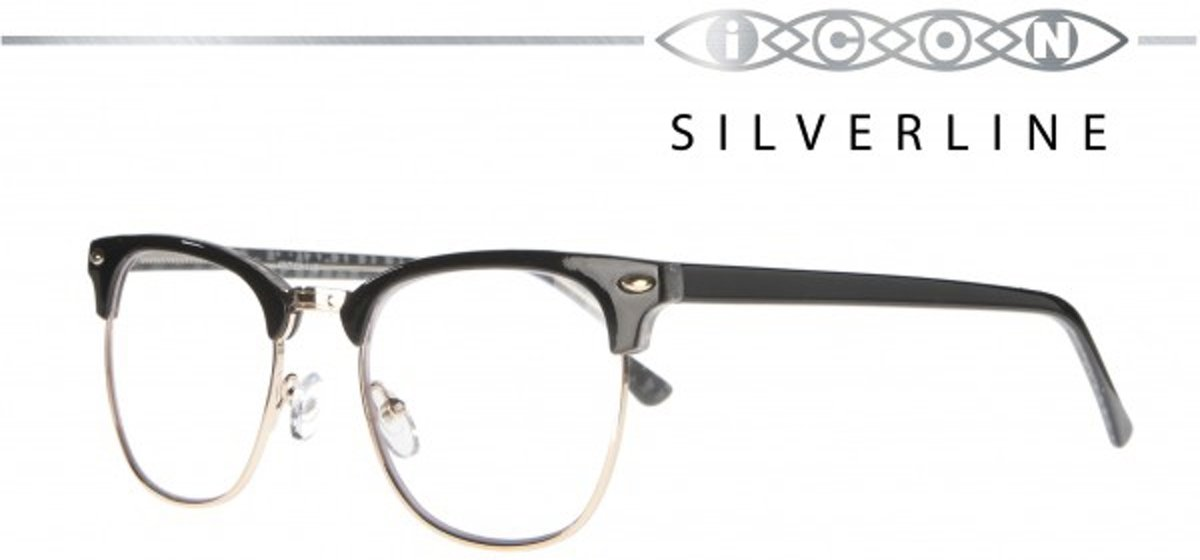 Icon Eyewear MCU721 Clubmaster Silverline Leesbril +2.50 - Glanzend zwart kopen