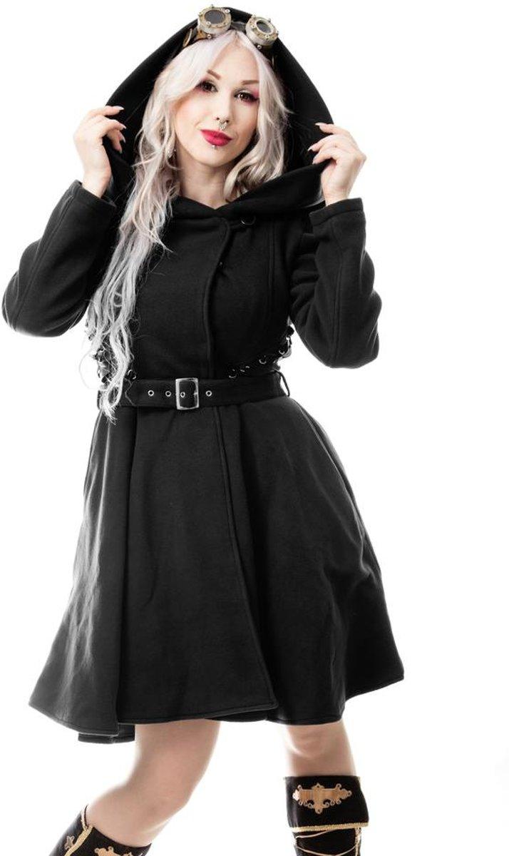   New moon dames winter jas met capuchon zwart
