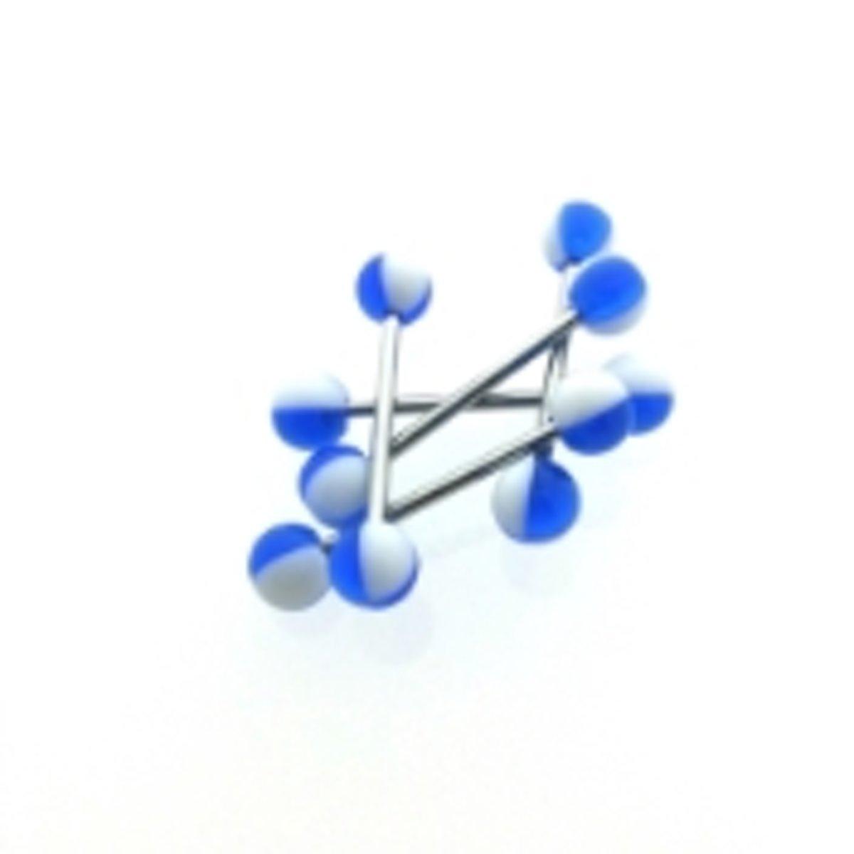 Tongpiercing acryl wit/blauw kopen
