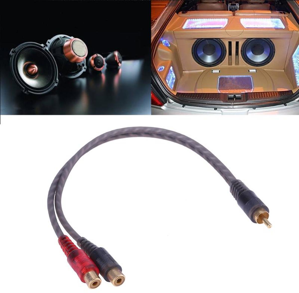1 st 30 cm 2 RCA Mannelijk naar 1 RCA Vrouwelijke OFC Splitter kabel voor Auto Audio Systeem voor subwoofer Dvd-speler mp3-speler kopen