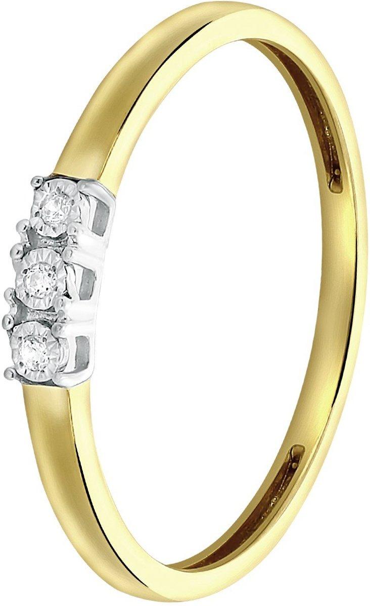 Lucardi Diamond - 14 Karaat geelgouden ring met diamant kopen