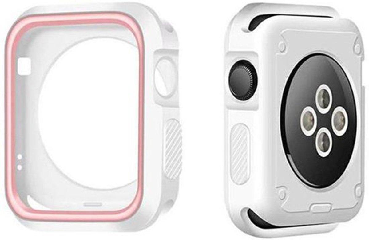 DrPhone Apple Watch 1/2/3 38mm Dual TPU Sport Siliconen Case - Volledige bescherm Case - Rubber Case – Wit/Roze kopen