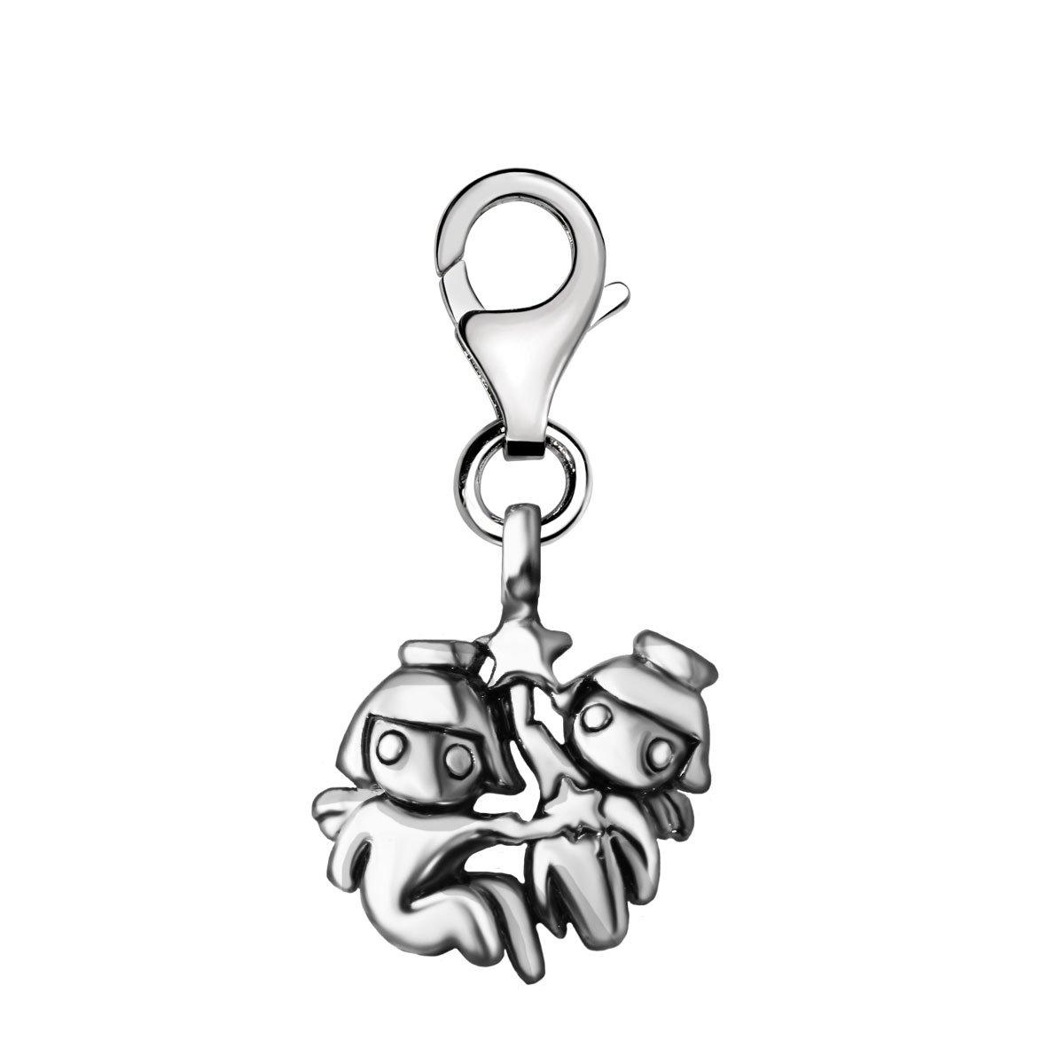 Quiges - Charm Bedel Hanger 3D Horoscoop Tweeling - Dames - zilverkleurig - QHC163 kopen