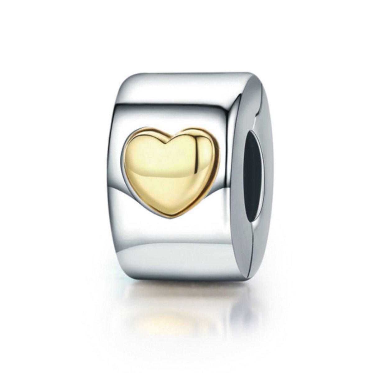 Zilveren clip met gouden hart kopen