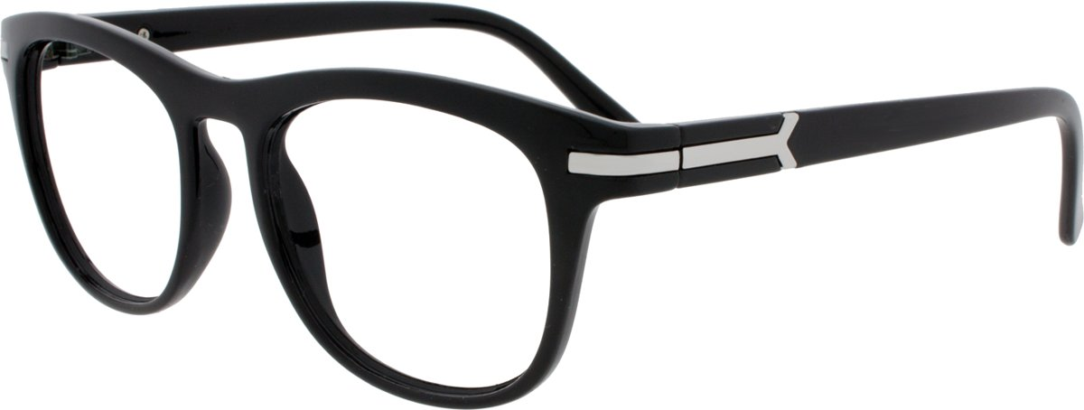 Icon Eyewear NCB303 Brad Leesbril +1.50 - Zwart - Zilverkleurig insert kopen