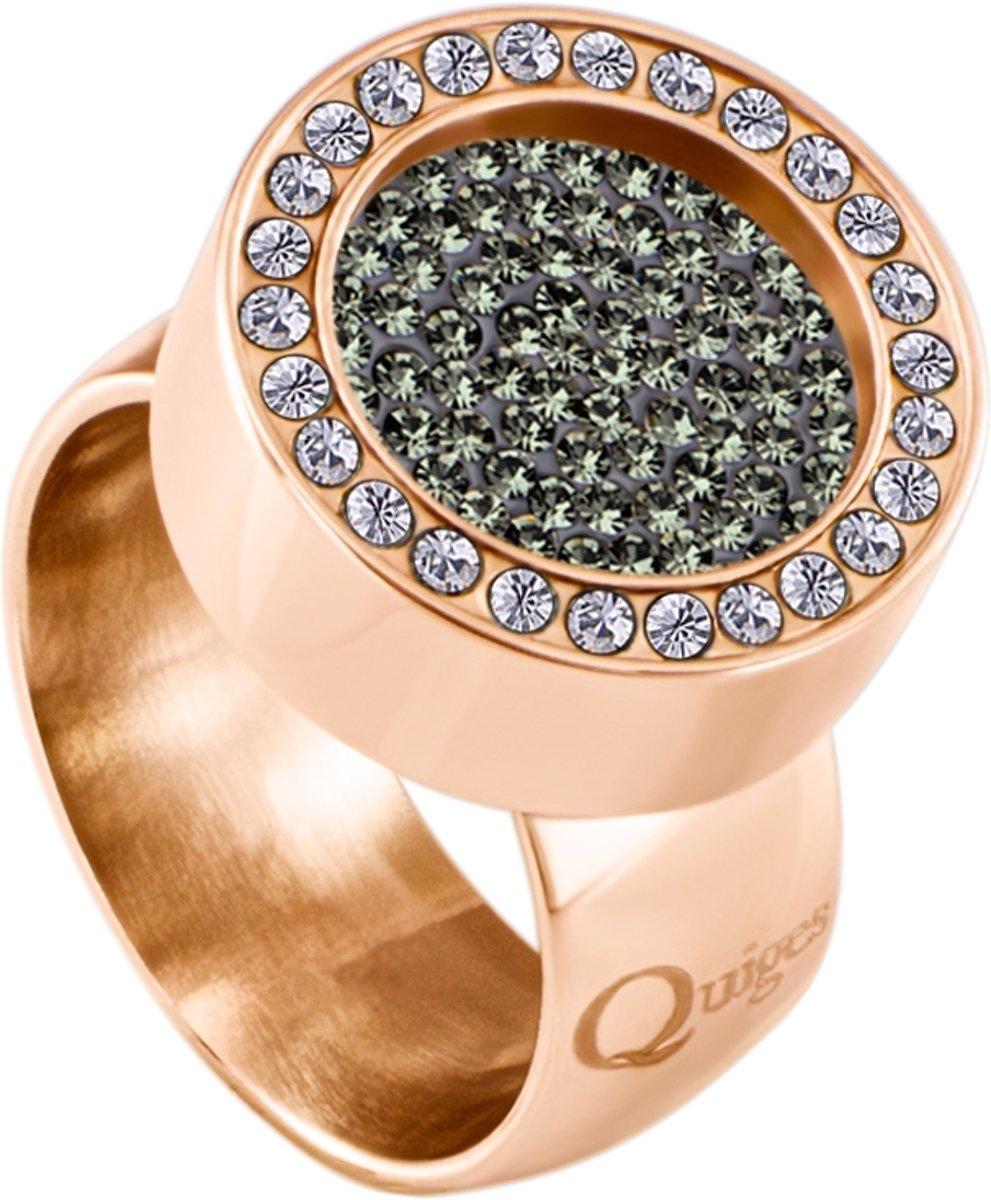 Quiges RVS Schroefsysteem Ring met Zirkonia Rosékleurig Glans 16mm met Verwisselbare Zirkonia Olijfgroen 12mm Mini Munt kopen