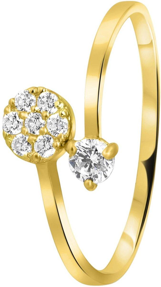 Lucardi - 14 Karaat geelgouden ring met zirkonia kopen