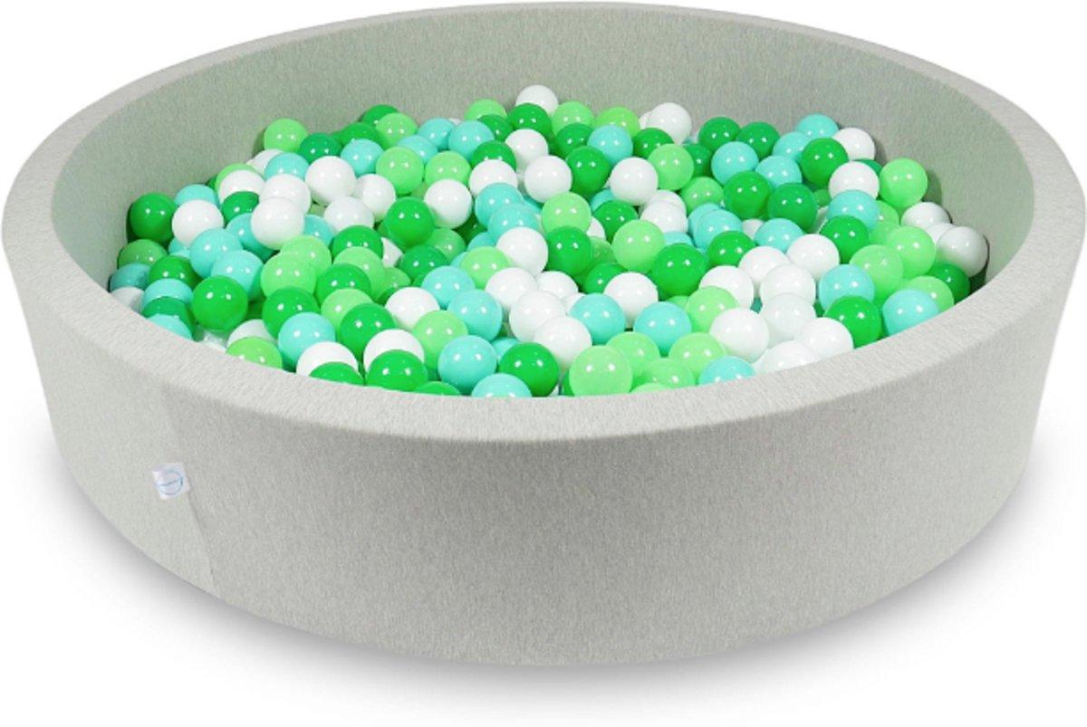 Ballenbak - 600 ballen - 130 x 30 cm - ballenbad - rond licht grijs