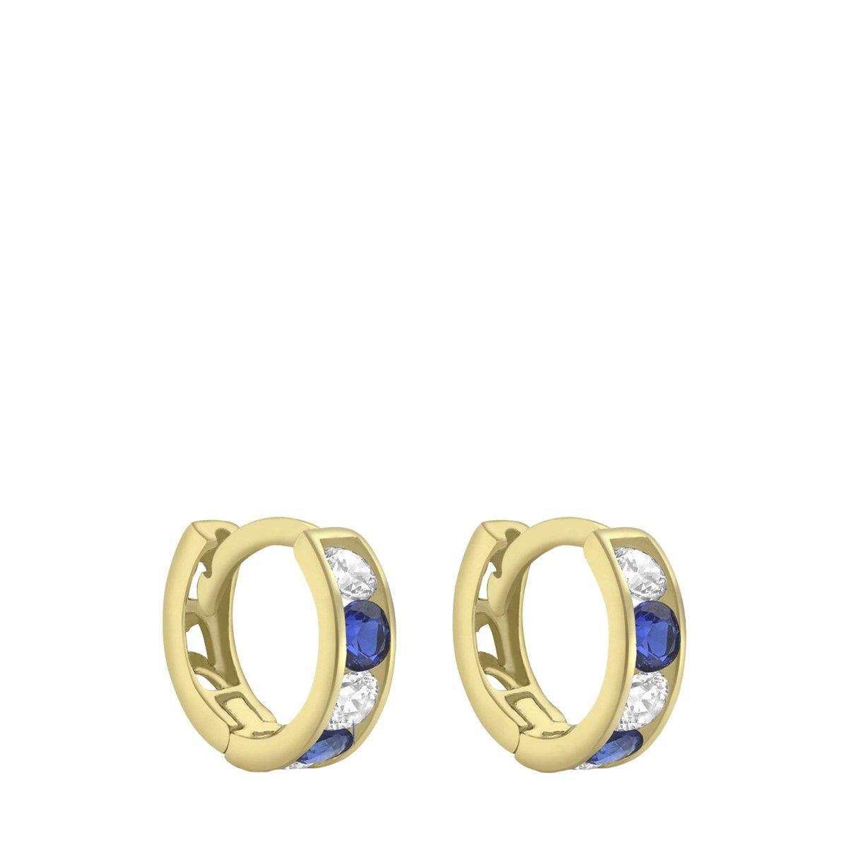 Nine - 9 Karaat oorringen met witte en blauwe zirkonia kopen