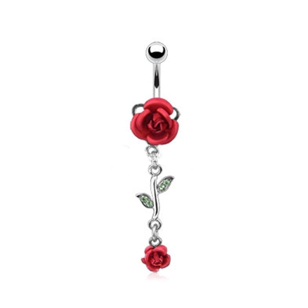 Navelpiercing dubbele roos rood ?LMPiercings kopen