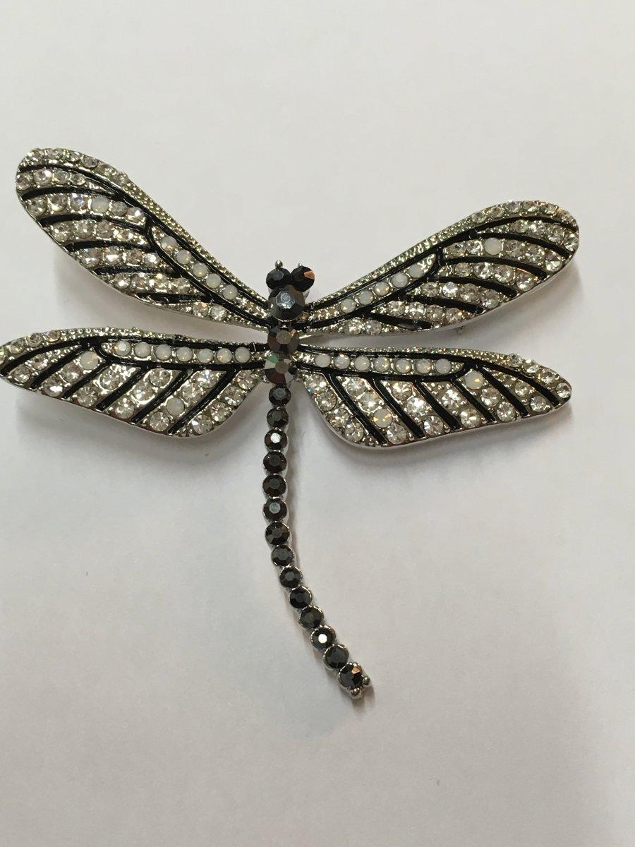 Broche Libelle zwart wit strass kopen