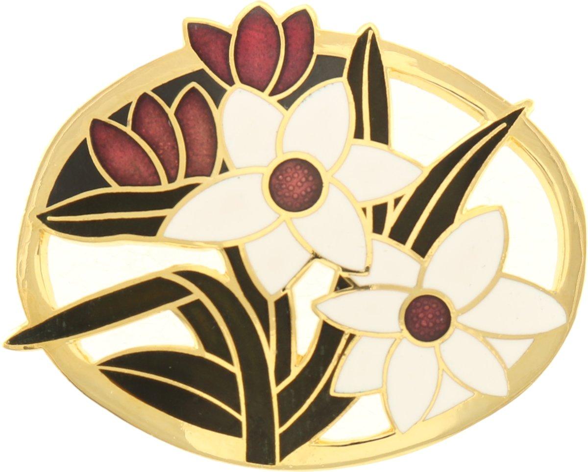 Behave® bloemen broche goud-kleur met zwart wit en rood emaille kopen