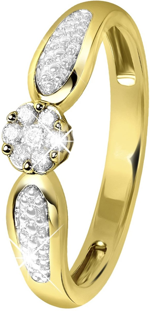 Lucardi - Diamond Luxury - 14 Karaat geelgouden ring met diamant kopen